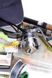 Αλιεύοντας εξοπλισμοί και δολώματα με την ΚΑΠ στα βιβλία Στοκ φωτογραφία με δικαίωμα ελεύθερης χρήσης