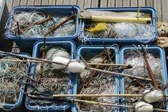 Αλιεύοντας εξοπλισμός, δίχτυα, γραμμές, επιπλέοντα σώματα Στοκ φωτογραφία με δικαίωμα ελεύθερης χρήσης