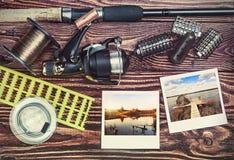 Αλιεύοντας εξοπλισμός και photoframe Στοκ φωτογραφία με δικαίωμα ελεύθερης χρήσης