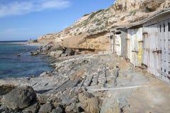 Αλιεύοντας καλύβες, παραλία Comte  Ibiza Στοκ φωτογραφίες με δικαίωμα ελεύθερης χρήσης