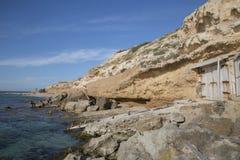 Αλιεύοντας καλύβες, παραλία Comte  Ibiza Στοκ εικόνα με δικαίωμα ελεύθερης χρήσης