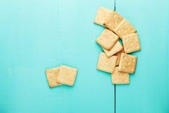 Αλμυρές κροτίδες μπισκότων Διάστημα για το κείμενο Τοπ όψη Στοκ εικόνα με δικαίωμα ελεύθερης χρήσης