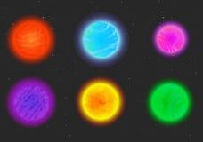 Αλλοδαποί πλανήτες φαντασίας κινούμενων σχεδίων καθορισμένοι Στοκ Εικόνες