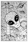 Αλλοδαπός και έννοια UFO Στοκ φωτογραφίες με δικαίωμα ελεύθερης χρήσης