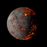 Αλλοδαπός καυτός πλανήτης στη μαύρη τρισδιάστατη απόδοση υποβάθρου ελεύθερη απεικόνιση δικαιώματος