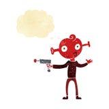 αλλοδαπός κινούμενων σχεδίων με το πυροβόλο όπλο ακτίνων με τη σκεπτόμενη φυσαλίδα Στοκ Φωτογραφίες