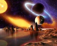 Αλλοδαπός πλανήτης με τους πλανήτες, το γήινο φεγγάρι και τα βουνά Στοκ Εικόνα