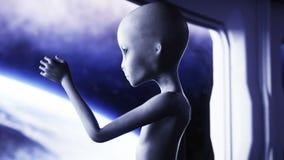 Αλλοδαπός στο φουτουριστικό δωμάτιο χέρι που φτάνει με το γήινο πλανήτη Φουτουριστική έννοια UFO Ζωτικότητα Cinematic 4k διανυσματική απεικόνιση