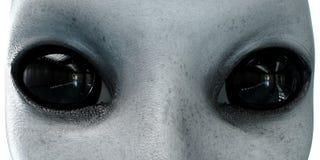 αλλοδαπό κεφάλι κλείστε επάνω Έννοια UFO απομονώστε τρισδιάστατη απόδοση απεικόνιση αποθεμάτων