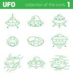 Αλλοδαπό μέρος εικονιδίων σκαφών Ufo ένα Στοκ φωτογραφίες με δικαίωμα ελεύθερης χρήσης