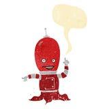αλλοδαπό spaceman κινούμενων σχεδίων με τη λεκτική φυσαλίδα Στοκ εικόνες με δικαίωμα ελεύθερης χρήσης