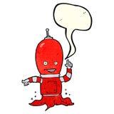 αλλοδαπό spaceman κινούμενων σχεδίων με τη λεκτική φυσαλίδα Στοκ Εικόνα