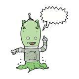 αλλοδαπό spaceman κινούμενων σχεδίων με τη λεκτική φυσαλίδα Στοκ Εικόνες