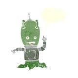 αλλοδαπό spaceman κινούμενων σχεδίων με τη λεκτική φυσαλίδα Στοκ Φωτογραφίες