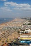 Αδριατική θάλασσα Rimini παραλιών θερινή περίοδο Στοκ Εικόνες