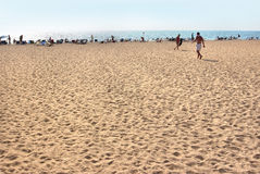 αδριατική όψη θάλασσας της Ιταλίας παραλιών Τουρίστες, sunbeds και ομπρέλες τη θερινή καυτή ημέρα Στοκ εικόνες με δικαίωμα ελεύθερης χρήσης