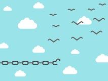 Αλυσίδα που μετασχηματίζεται στο πουλί διανυσματική απεικόνιση