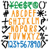 Αλφάβητα, αριθμοί και ειδικοί χαρακτήρες - γραπτό χέρι διάνυσμα Στοκ φωτογραφία με δικαίωμα ελεύθερης χρήσης