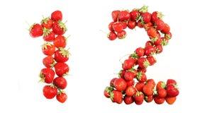 Αλφάβητο αριθμών των κόκκινων ώριμων φραουλών Στοκ Εικόνες