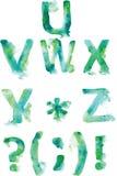 Αλφάβητο, ζωγραφισμένες στο χέρι γαλαζοπράσινες και τυρκουάζ σκιές σε ένα wh Στοκ Φωτογραφία