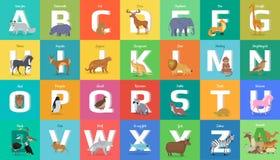 Αλφάβητο ζώων Επιστολή από το Α στο Ω διανυσματική απεικόνιση