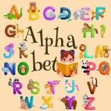 Αλφάβητο ζώων που τίθεται για την εκπαίδευση παιδιών abc στον παιδικό σταθμό Στοκ Φωτογραφίες