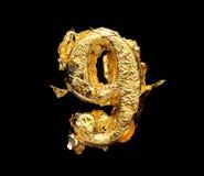 Αλφάβητο και αριθμοί στο τραχύ χρυσό φύλλο Στοκ φωτογραφία με δικαίωμα ελεύθερης χρήσης