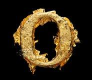 Αλφάβητο και αριθμοί στο τραχύ χρυσό φύλλο Στοκ φωτογραφίες με δικαίωμα ελεύθερης χρήσης