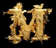 Αλφάβητο και αριθμοί στο τραχύ χρυσό φύλλο Στοκ Εικόνες