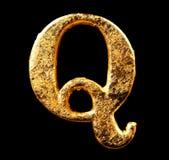 Αλφάβητο και αριθμοί στο χρυσό φύλλο Στοκ εικόνες με δικαίωμα ελεύθερης χρήσης