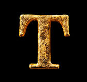 Αλφάβητο και αριθμοί στο χρυσό φύλλο Στοκ Εικόνες