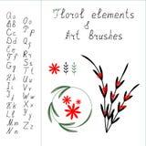 Αλφάβητο και floral στοιχεία διανυσματική απεικόνιση