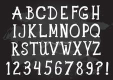 Αλφάβητο κιμωλίας Αναδρομική πηγή τύπων επιστολές Στοκ Φωτογραφίες