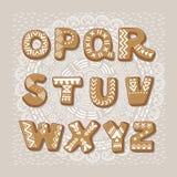 Αλφάβητο μπισκότων Χριστουγέννων abc ζωηρόχρωμο διάνυσμα ύφους τύπων χαρακτήρων σχεδίου αλφάβητου Στοκ Εικόνες
