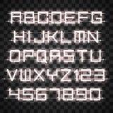Αλφάβητο νέου πυράκτωσης άσπρο Στοκ εικόνα με δικαίωμα ελεύθερης χρήσης