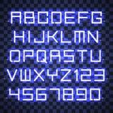 Αλφάβητο νέου πυράκτωσης μπλε Στοκ Εικόνες