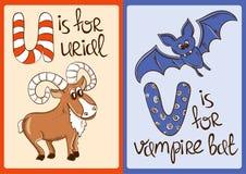 Αλφάβητο παιδιών με τα αστεία ζώα Urial και το ρόπαλο βαμπίρ Στοκ φωτογραφία με δικαίωμα ελεύθερης χρήσης