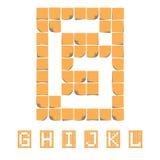 Αλφάβητο πηγών αυτοκόλλητων ετικεττών σημειώσεις κολλώδεις EPS8 Στοκ Φωτογραφία