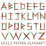 Αλφάβητο πιπεριών τσίλι Στοκ Εικόνες