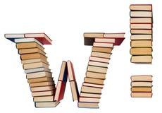 Αλφάβητο που γίνεται από τα βιβλία, το γράμμα W και το σημάδι θαυμαστικών Στοκ Εικόνα