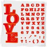 Αλφάβητο που χρωματίζεται στο κόκκινο Στοκ Εικόνες