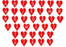 Αλφάβητο στις καρδιές Στοκ φωτογραφίες με δικαίωμα ελεύθερης χρήσης