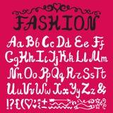 αλφάβητο Συρμένες χέρι επιστολές μελανιού προκλητική γυναίκα ύφους μόδας προσώπου μαυρισμένων ματιών Στοκ Εικόνα