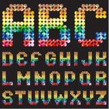 Αλφάβητο του ζωηρόχρωμου μωσαϊκού διανυσματική απεικόνιση