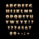 Αλφάβητο χαλκού σε ένα μαύρο υπόβαθρο Στοκ Φωτογραφίες