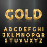 αλφάβητο χρυσό Σύνολο μεταλλικών τρισδιάστατων επιστολών Στοκ Εικόνα