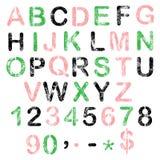 Αλφάβητο χρώματος grunge για το σχέδιό σας Στοκ εικόνες με δικαίωμα ελεύθερης χρήσης