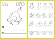 Αλφάβητο AZ - φύλλο εργασίας γρίφων, ασκήσεις για τα παιδιά - χρωματίζοντας βιβλίο Στοκ Εικόνες