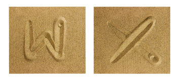 Αλφάβητο W-Χ στην άμμο Στοκ φωτογραφία με δικαίωμα ελεύθερης χρήσης