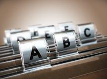 Αλφαβητικός δείκτης στοκ φωτογραφία